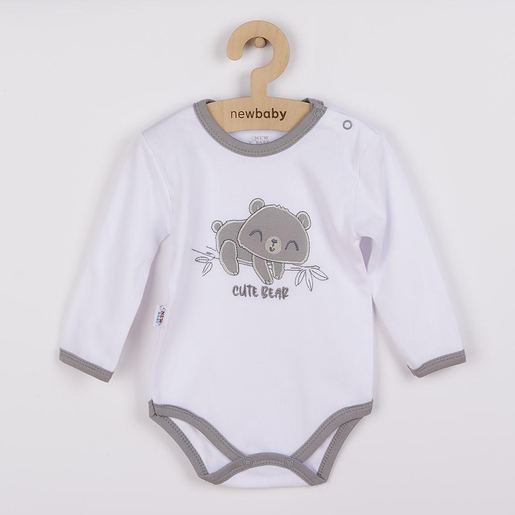 Kojenecké bavlněné body s dlouhým rukávem New Baby Cute Bear