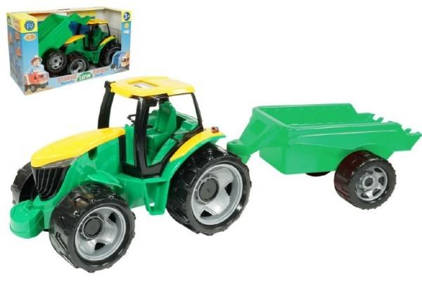 Traktor plast bez lžíce a bagru s vozíkem v krabici 71x35x29cm