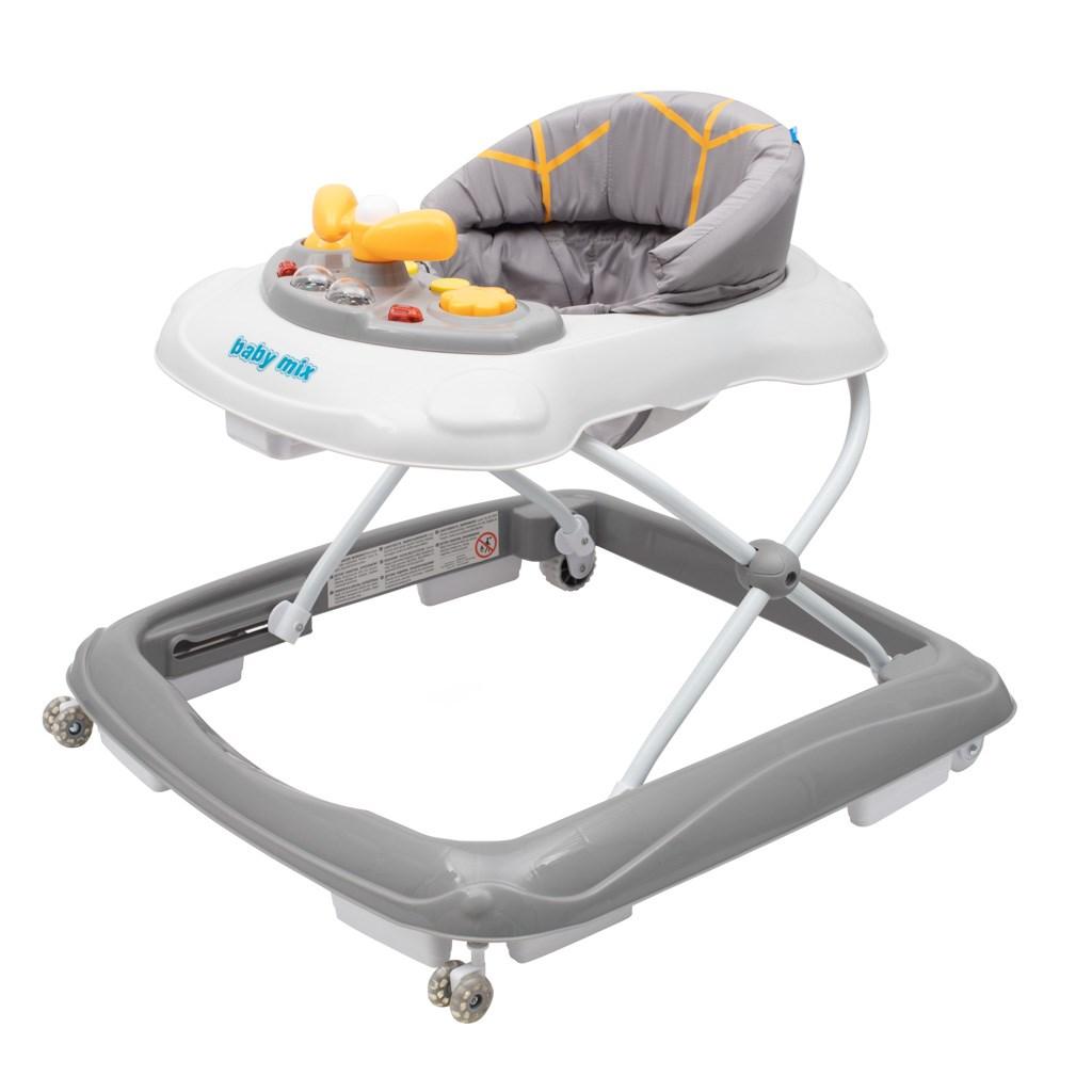 Dětské chodítko Baby Mix s volantem a silikonovými kolečky - šedá