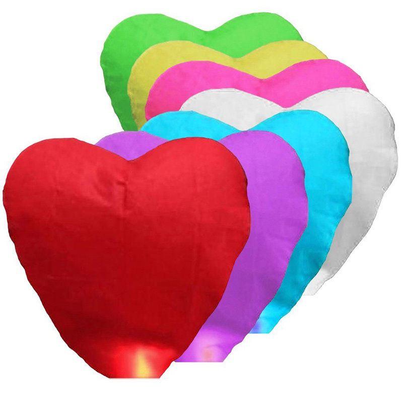 Lampiony štěstí 10 kusů mix barev - tvar srdce