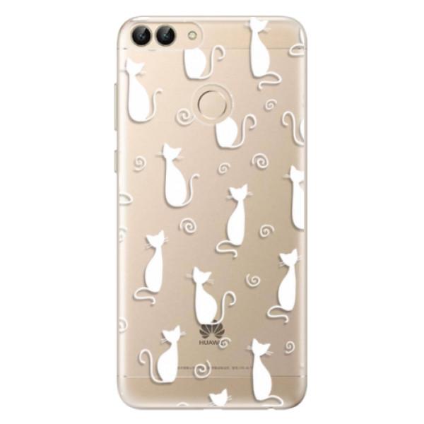 Odolné silikonové pouzdro iSaprio - Cat pattern 05 - white - Huawei P Smart
