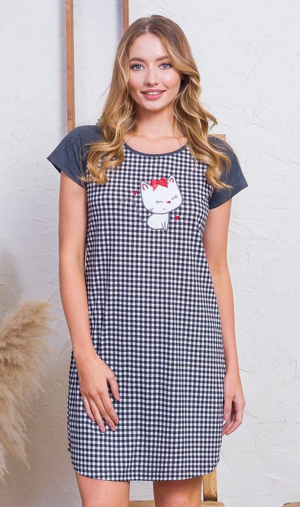 Dámská noční košile s krátkým rukávem Kotě s mašličkou - tmavě šedá