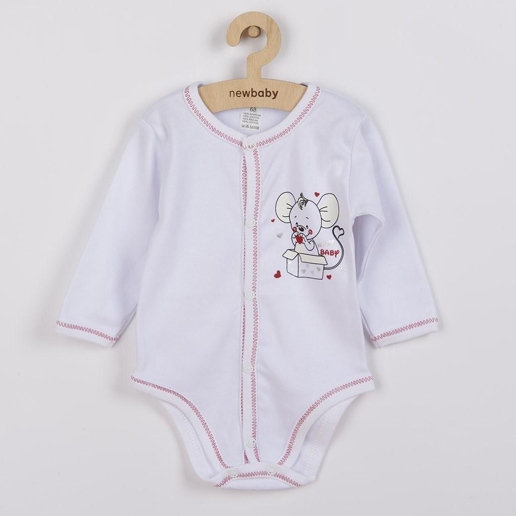 Kojenecké - celorozepínací body New Baby Mouse - bílá/68 (4-6m)