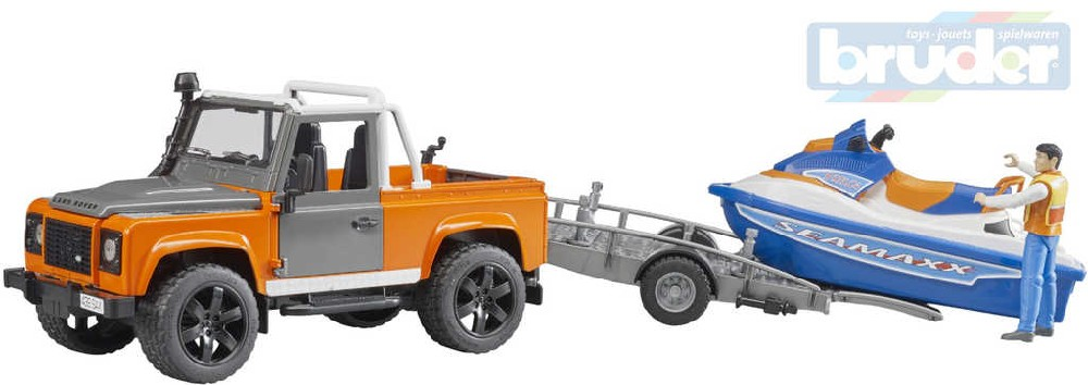 BRUDER 02599 Auto Land Rover s přívěsem set s figurkou a vodním skútrem 1:16