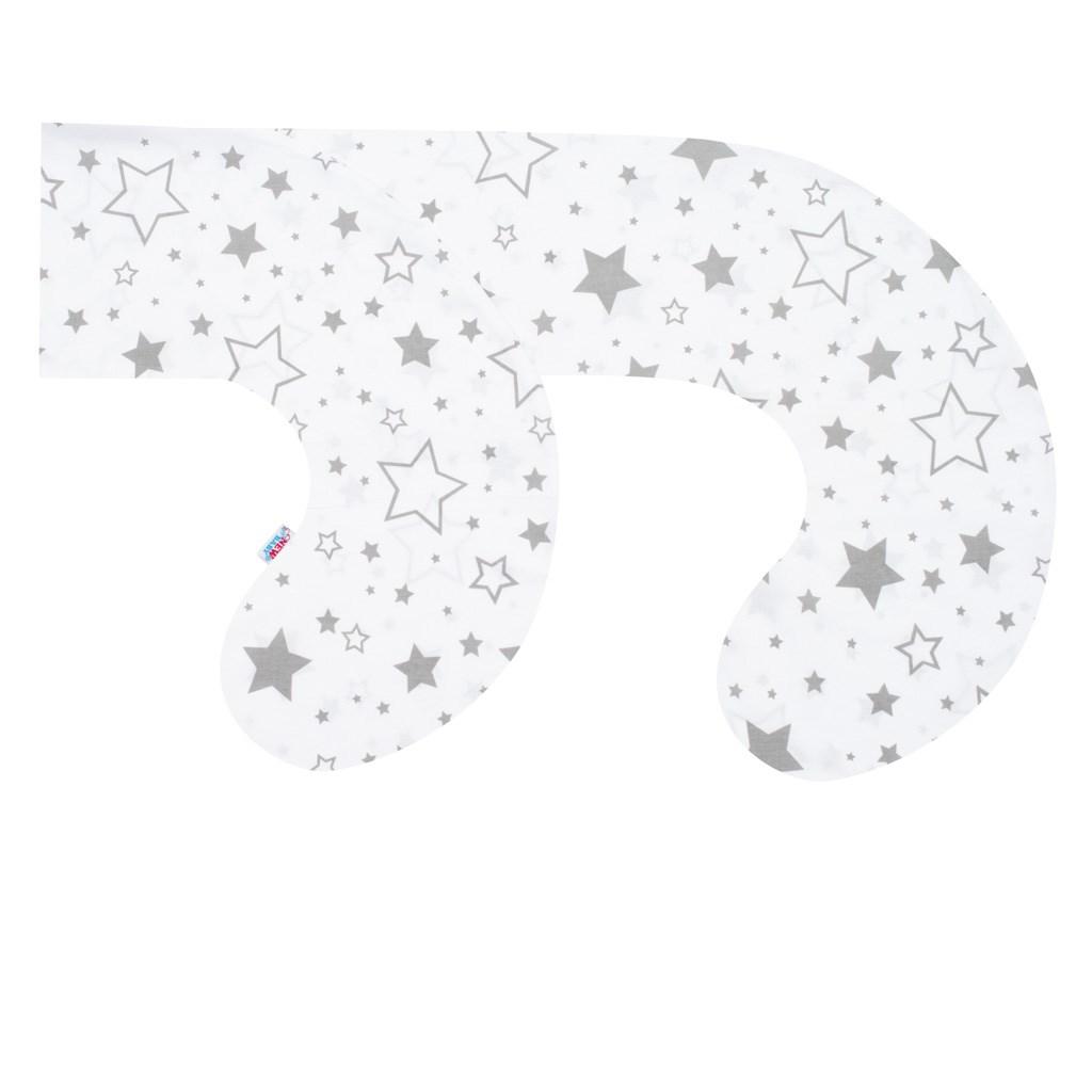 Povlak na kojící polštář - ve tvaru C New Baby Hvězdy šedé - bílá