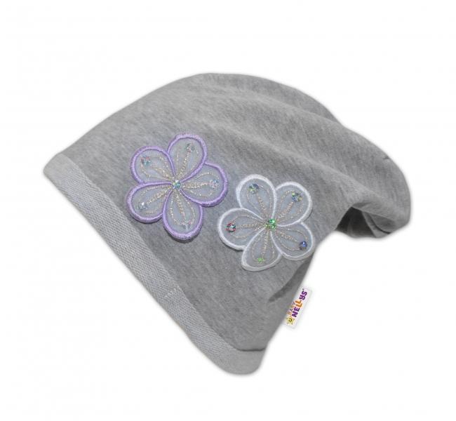 Bavlněná čepička Květinky Baby Nellys ® - šedá - 48/52 čepičky obvod