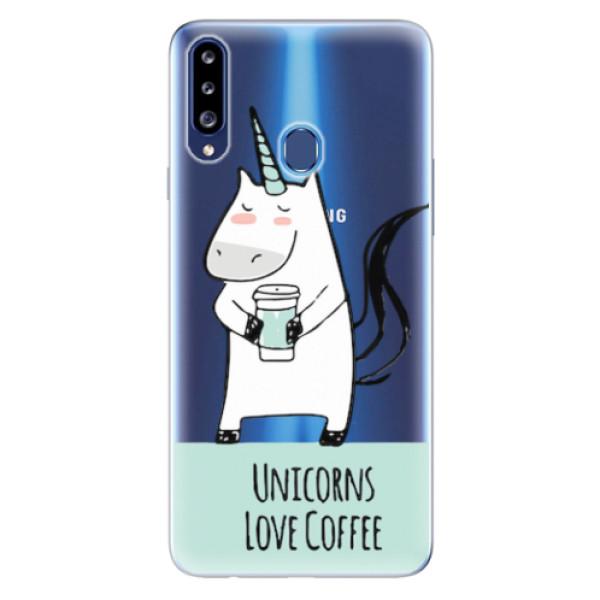 Odolné silikonové pouzdro iSaprio - Unicorns Love Coffee - Samsung Galaxy A20s
