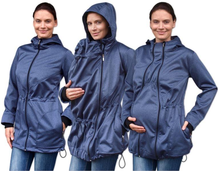 Bunda pro nosící, těhotné - softshellová (přední nošení), tm. modrý