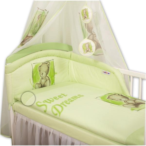 Baby Nellys Povlečení Sweet Dreams by Teddy - zelený - 120x90