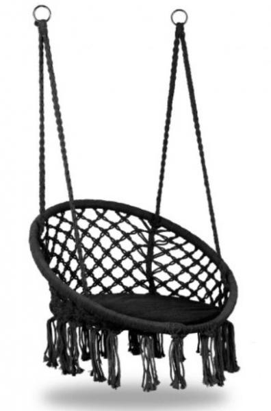 Eco toys Závěsné houpací křeslo Hamak + poduška - černé