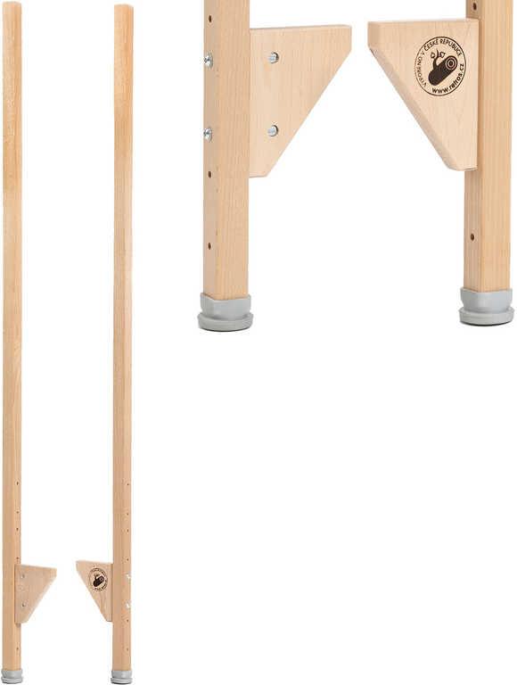 DŘEVO Chůdy dětské 145cm nastavitelné 4 polohy set 1 pár v sáčku
