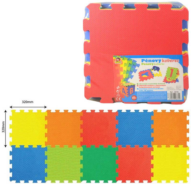 Baby puzzle pěnové soft barevné set 10ks měkké bloky 32x32cm na zem