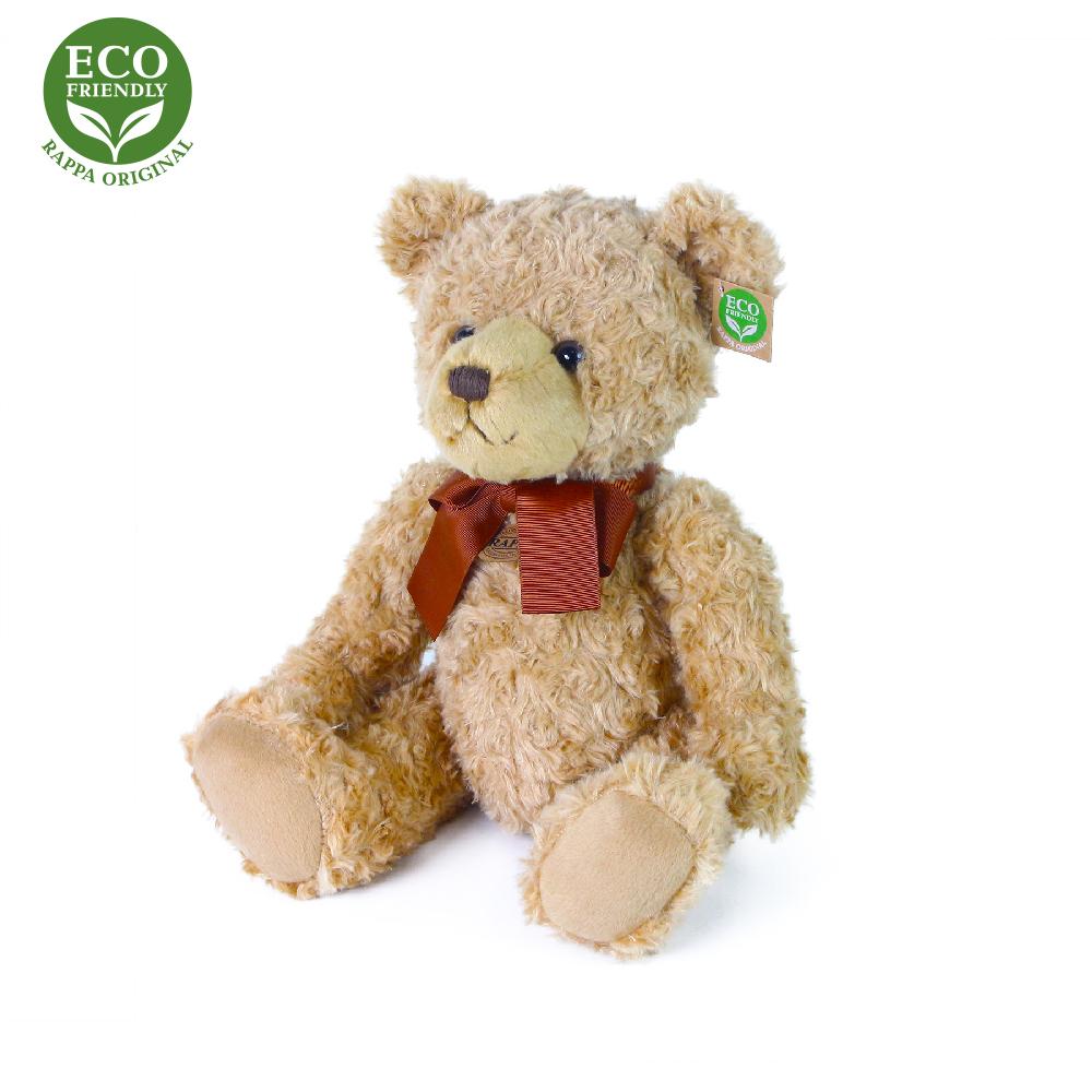 Plyšový medvěd retro s mašlí sedící 30 cm ECO-FRIENDLY