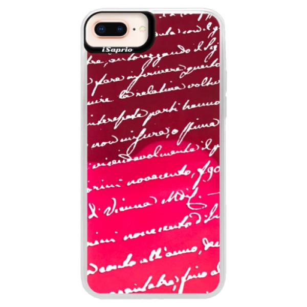 Neonové pouzdro Pink iSaprio - Handwriting 01 - white - iPhone 8 Plus