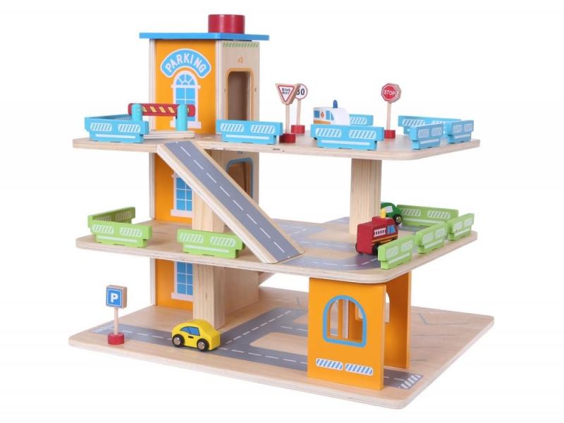 Eco toys Dřevěná parkovací garáž s výtahem