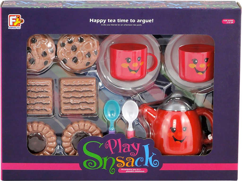 Veselý čajový set dětské nádobí se sušenkami s obličejem plast v krabici