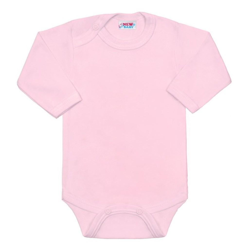 BIO body s dlouhým rukávem New Baby - růžová/80 (9-12m)