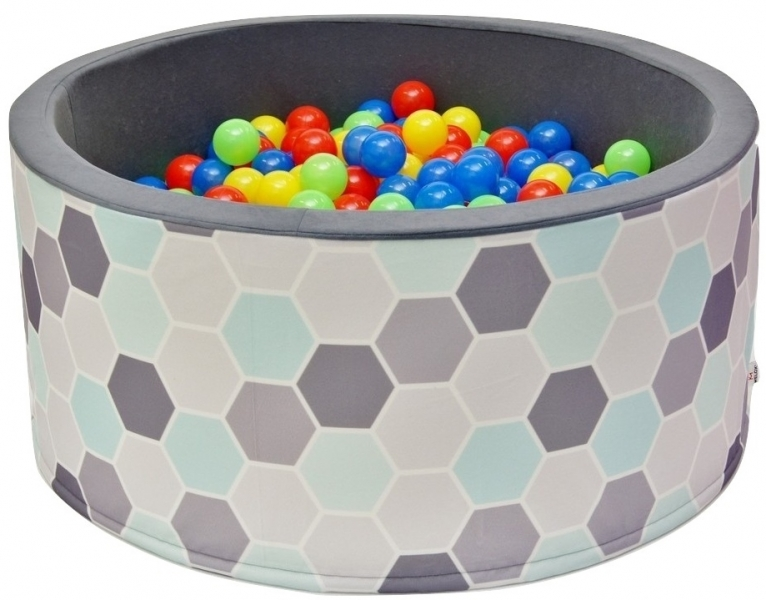 Bazén pro děti 90x40cm kruhový tvar + 200 balónků - šedy/máta