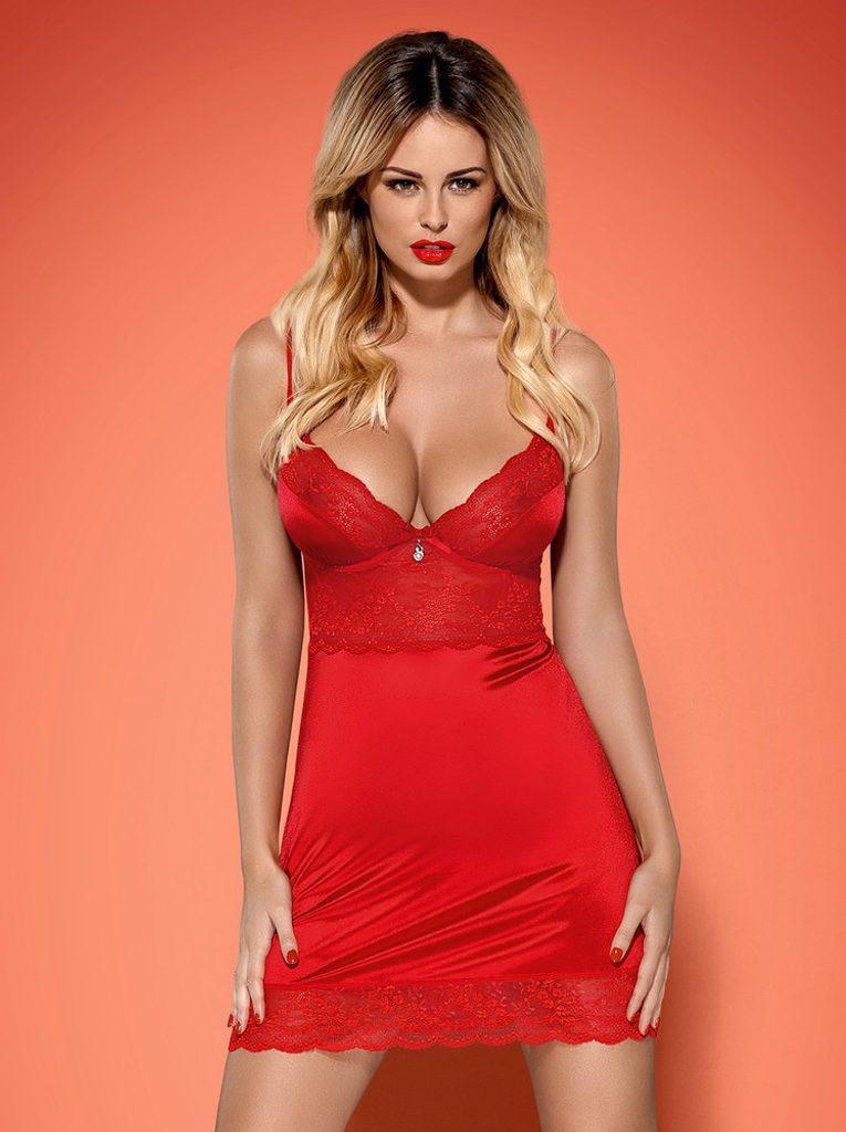 Košilka Obsessive Lovica chemise - Červená - L/XL