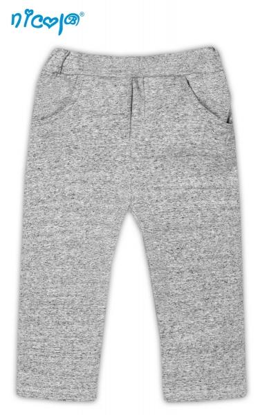 Tepláčky, kalhoty Pejsek - šedé s kapsami, vel.