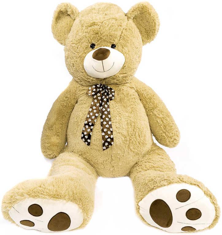 PLYŠ Medvěd béžový s mašlí 130 cm