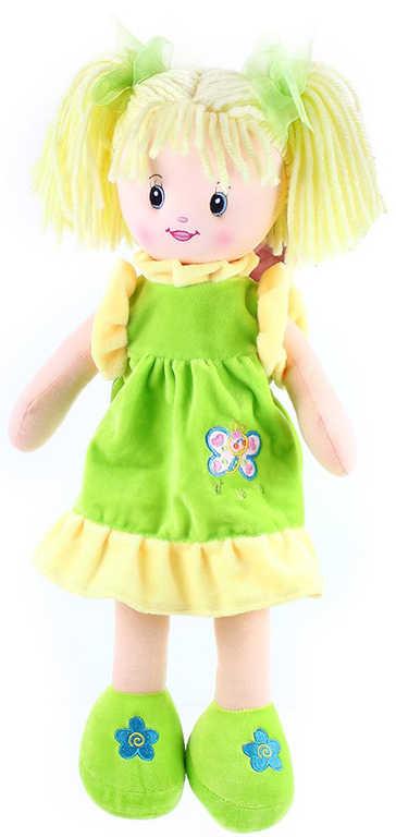 Panenka hadrová Andulka 50 cm blondýnka s copánky zelená