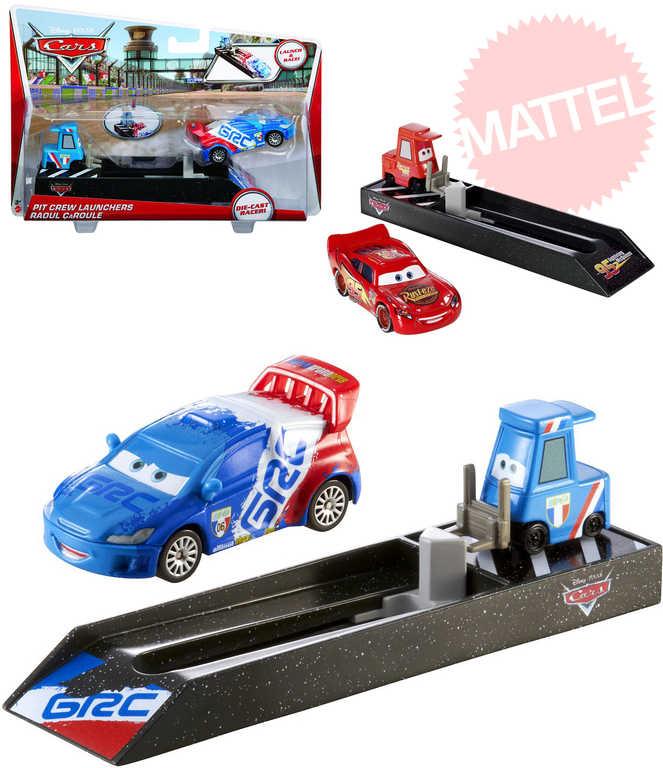 MATTEL Závodní vystřelovač startér Cars (Auta) set s kovovým autem 5 druhů