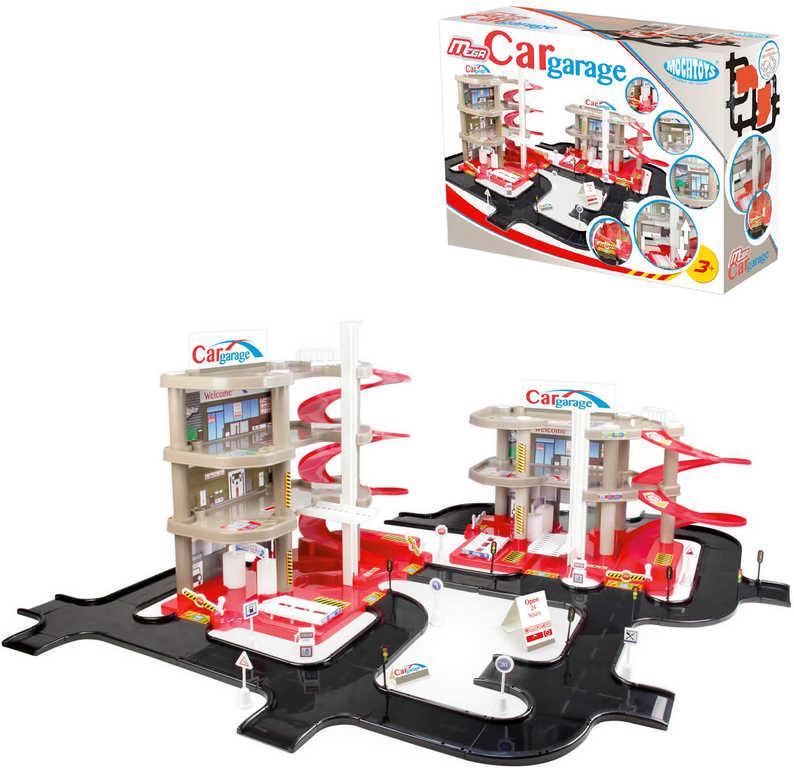 MOCHTOYS Velký herní set 2 garáže se silnicí s dopravními značkami