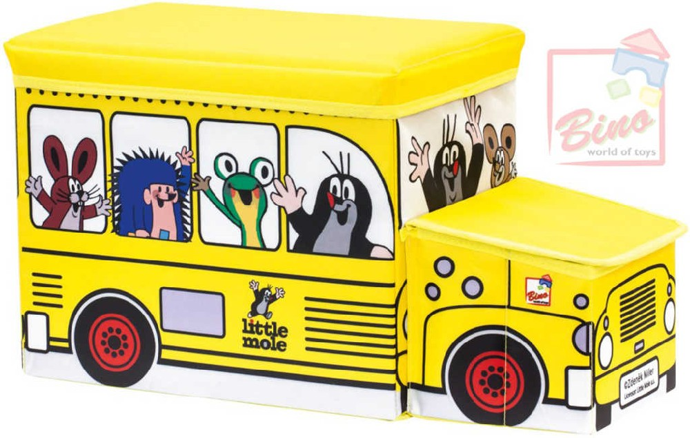 BINO KRTEK Krabice na hračky autobus 2v1 dětská židlička Krteček žlutá