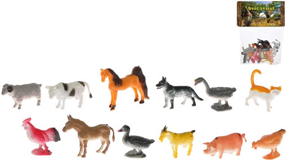 Zvířátka plastová farma 5 cm set 12 druhů v sáčku