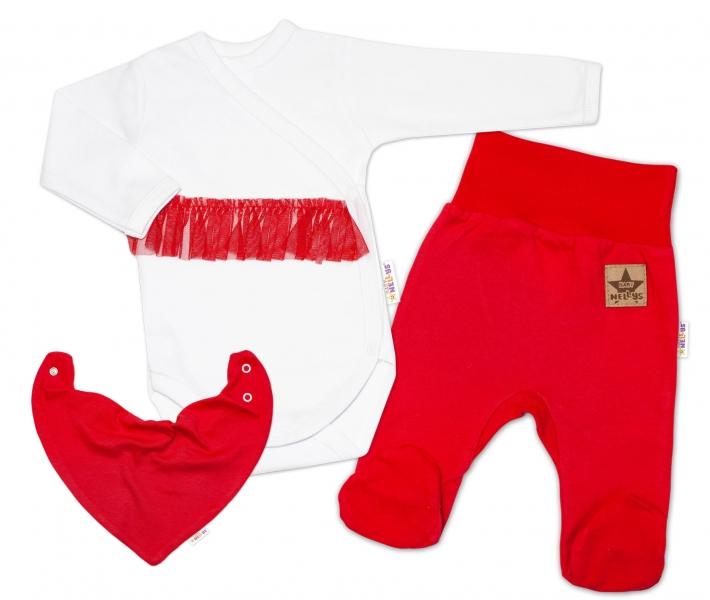Baby Nellys 3-dílná sada Body dl. rukáv s tutu, šátek, polodupačky, červená