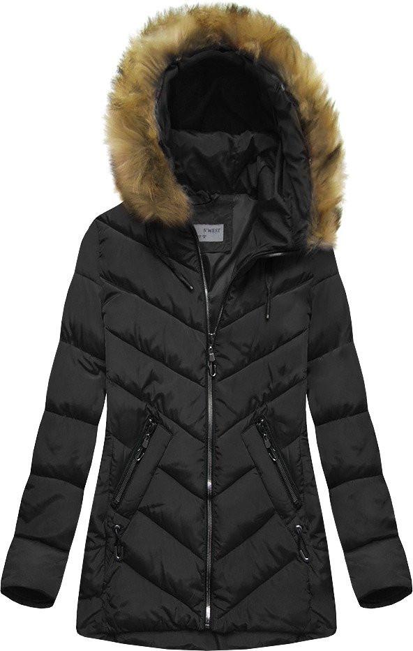 Černá prošívaná bunda s kapucí (B2633)