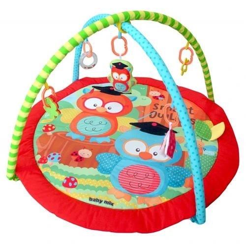 BABY MIX Vzdělávací hrací deka - Sovy ve škole, červená