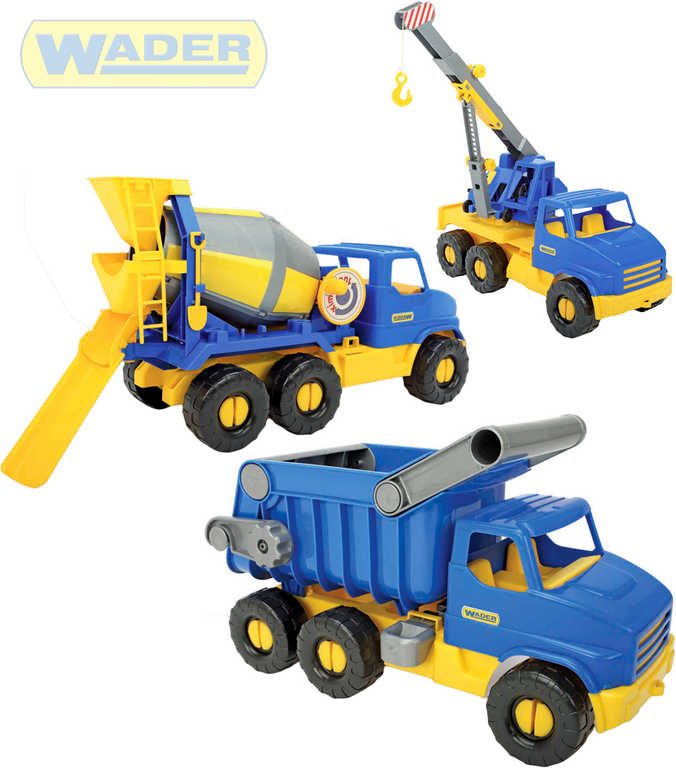 WADER Middle Truck auto stavební 42-49cm plastové 5 druhů v síťce 32610