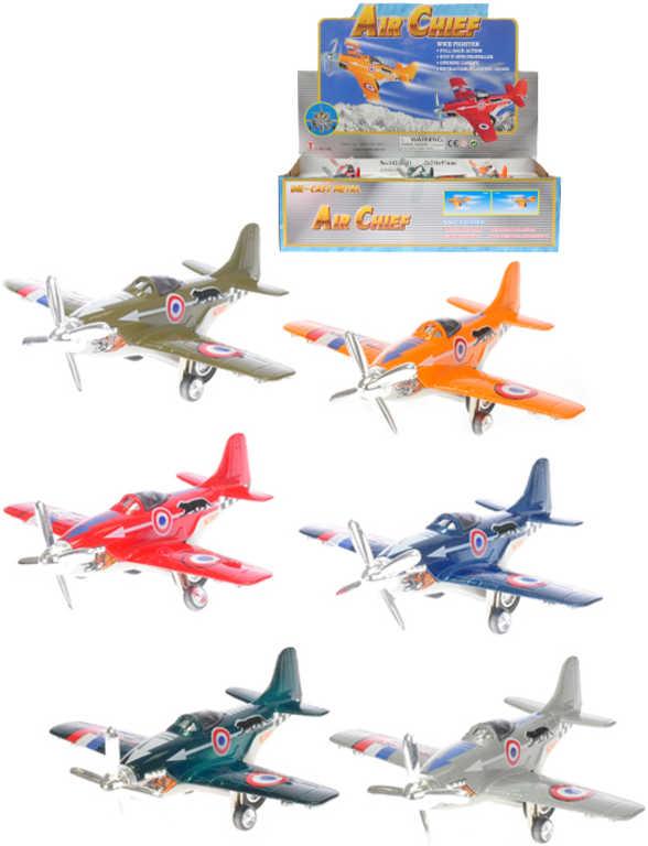 Vrtulové letadlo kovové 12cm zpětný chod 6 barev