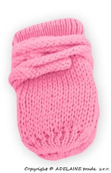 Zimní pletené kojenecké rukavičky - růžové - 86 (12-18m)