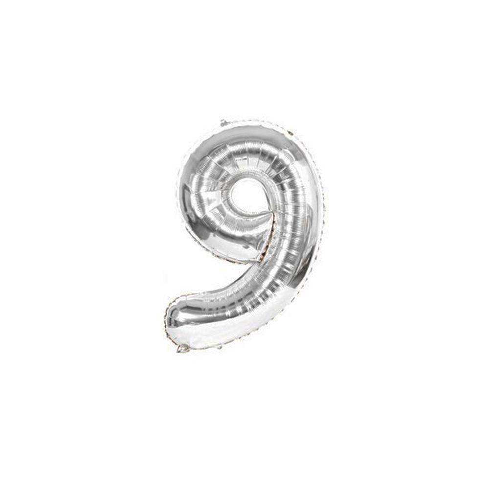 Nafukovací balónky čísla maxi stříbrné - 9