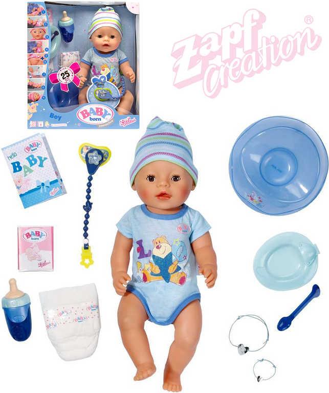 ZAPF BABY BORN Chlapeček interaktivní 43cm miminko s doplňky umí jíst, plakat