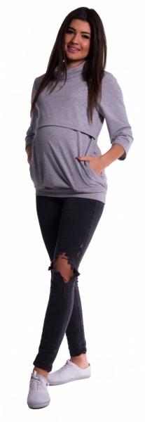 Be MaaMaa Těhotenské a kojící teplákové triko - šedý