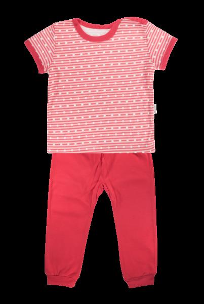 Bavlněné pyžamko Mamatti Love Girl - krátký rukáv - červené, vel.