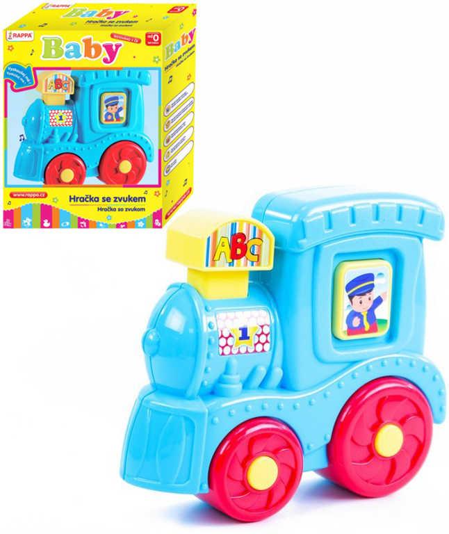 Baby lokomotiva modrá na baterie plast Zvuk pro miminko