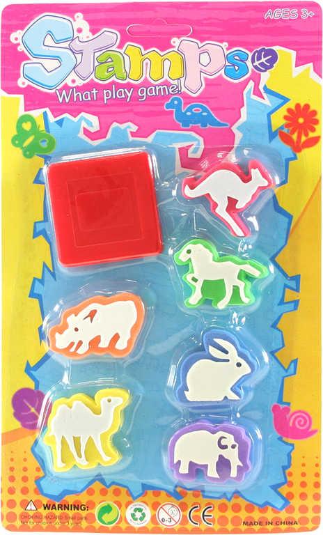 Razítka dětská tiskátka zvířátka set 6ks s poduškou na kartě