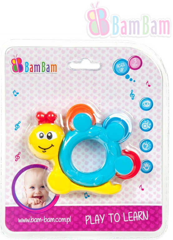 ET BAM BAM Baby chrastítko šnek na kartě pro miminko