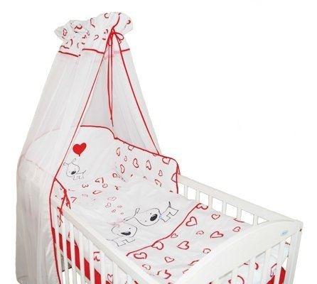 Mantinel s povlečením PUPPY LOVE - červené se srdíčky - 135x100