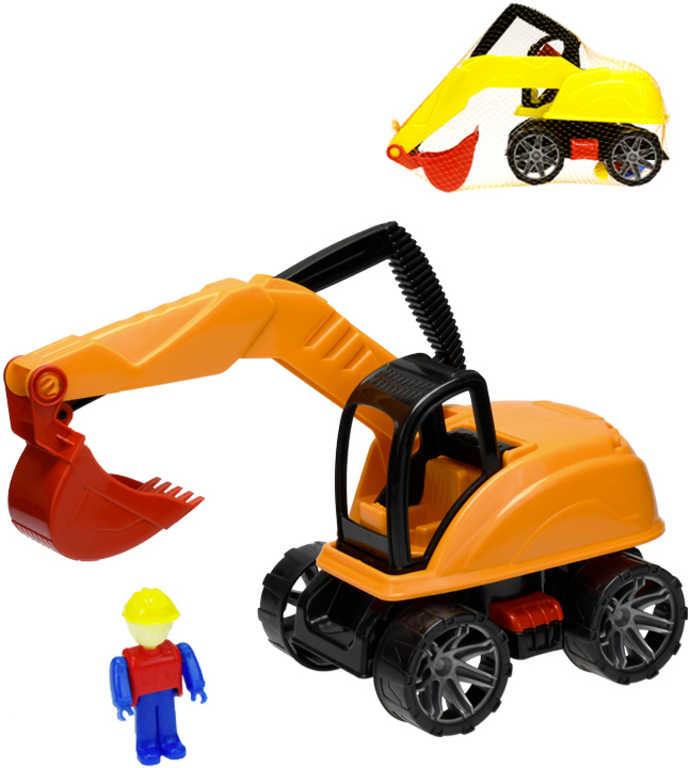 Bagr plastový 31cm stavební stroj set s figurkou volný chod na písek 2 barvy