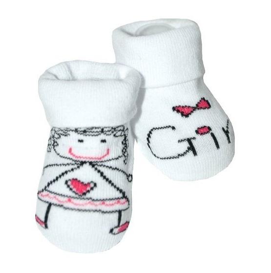 Kojenecké ponožky Risocks protiskluzové - Baby Girl, bílo/růžové, 12-24 m - 12/24měsíců