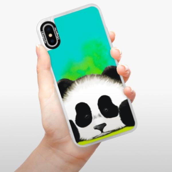 Neonové pouzdro Blue iSaprio - Sad Panda - iPhone XS