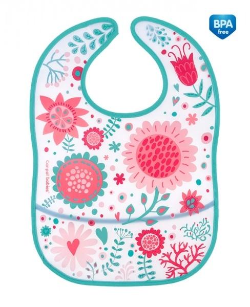 Plastový bryndák/zástěrka s kapsičkou Canpol Babies Wid Nature - růžový