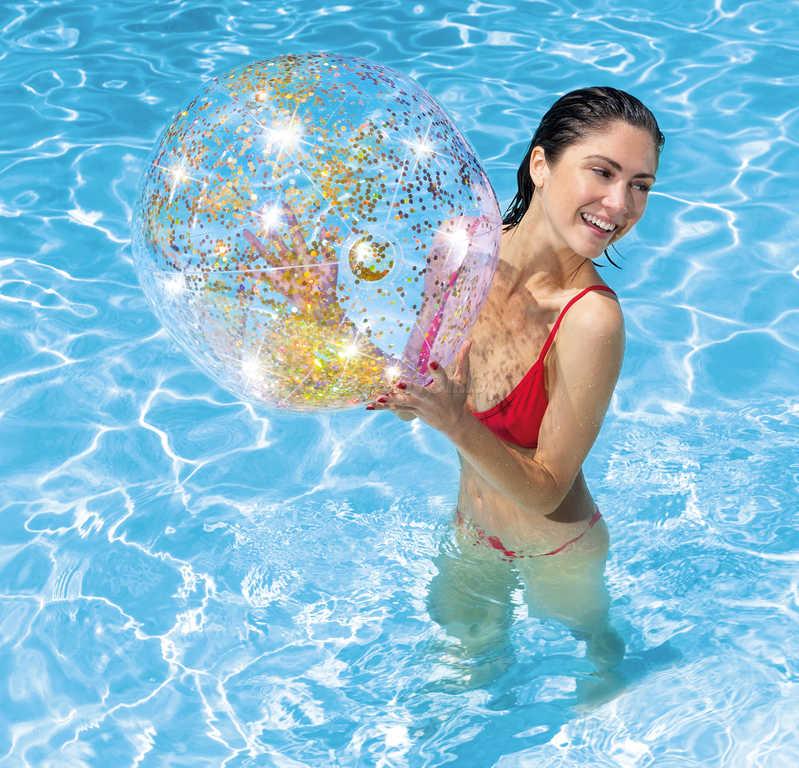 INTEX Balón Glitter nafukovací flitrový 71cm míč s třpytkami do vody 2 barvy 58070