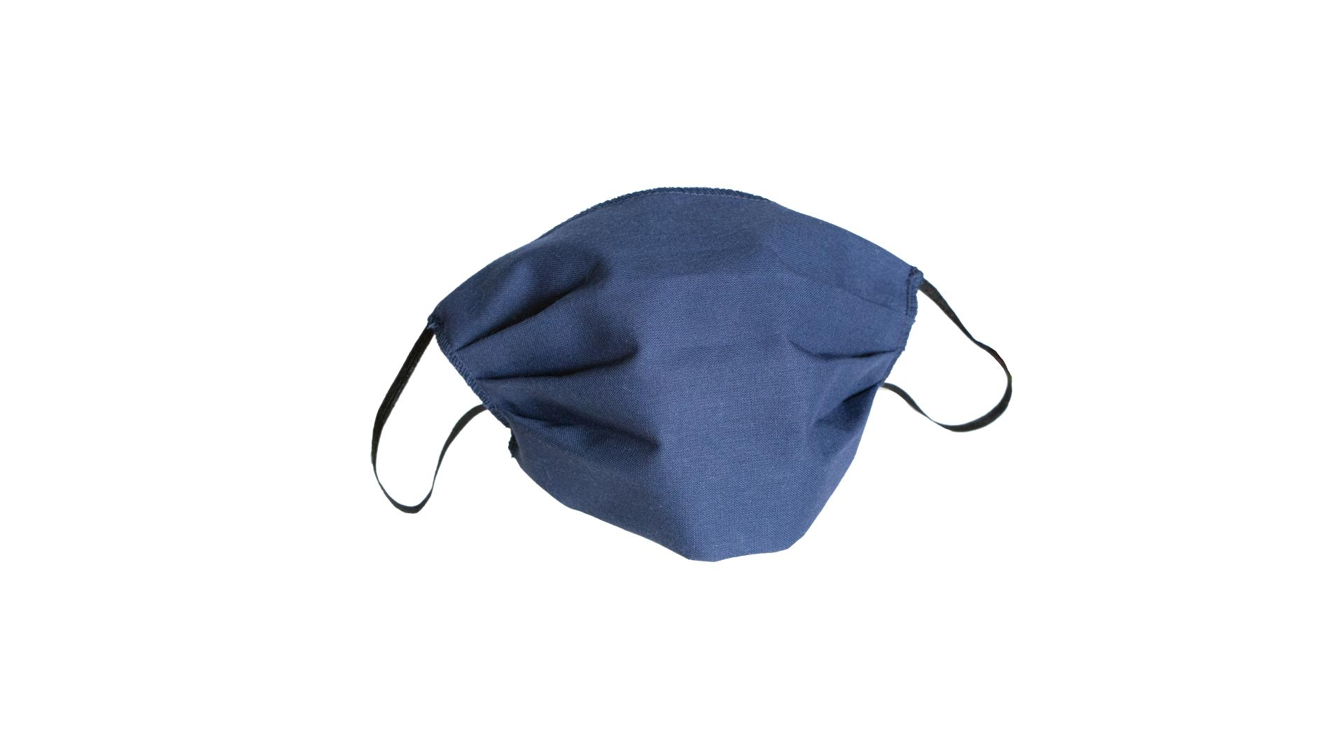 4CARS Dvouvrstvé ochranné bavlněné rouško modré bez vzoru s gumičkou 3ks